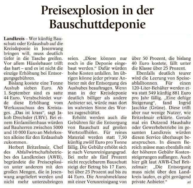 Pressebericht zur Gebührenerhühung Bauschuttdeponie Jesenwang