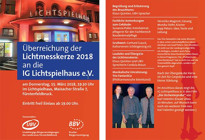 Verleihung der Lichtmesskerze 2018 an die IG Lichtspielhaus