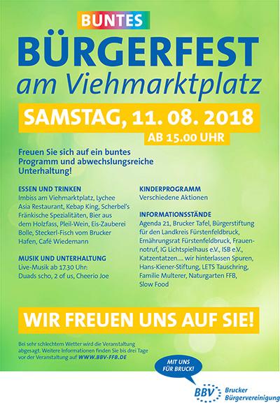 Buntes Bürgerfest 2018 am Brucker Viehmarktplatz